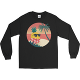 Pineapple Long Sleeve T Shirt For Men | Tropical Hawaiian Tee | The Jazzy Panda