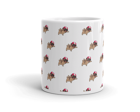 Pug All-Over Mug | Funny Skydiving Dog Cup | The Jazzy Panda