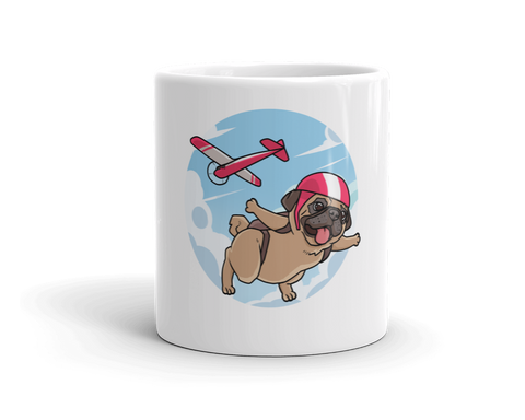 Pug Mug | Funny Skydiving Dog Cup | The Jazzy Panda