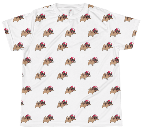 Pug All-Over T Shirt For Girls | Funny Skydiving Dog Tee | The Jazzy Panda