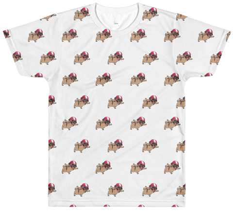 Pug All-Over T Shirt For Men | Funny Skydiving Dog Tee | The Jazzy Panda