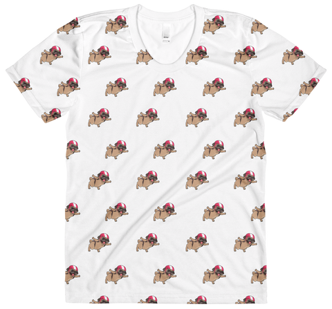 Pug All-Over T Shirt For Women | Funny Skydiving Dog Tee | The Jazzy Panda