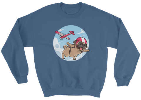 Pug Crewneck For Women | Funny Skydiving Dog Sweatshirt | The Jazzy Panda