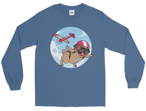 Pug Long Sleeve T Shirt For Men | Funny Skydiving Dog Tee | The Jazzy Panda