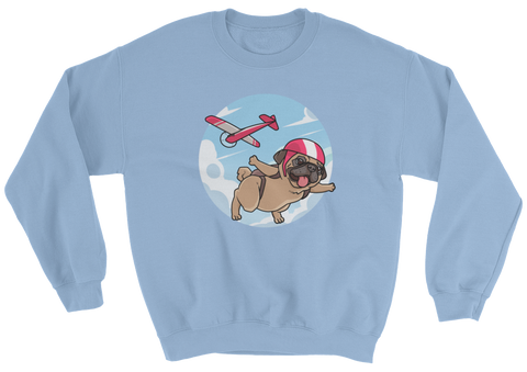 Pug Crewneck For Men | Funny Skydiving Dog Sweatshirt | The Jazzy Panda