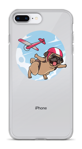 Pug iPhone 7 8 Plus Case | Funny Skydiving Dog Cover | The Jazzy Panda