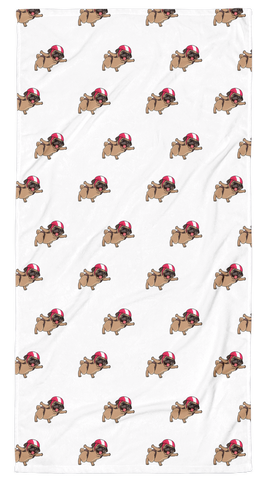 Pug All-Over Towel | Funny Skydiving Dog Blanket | The Jazzy Panda
