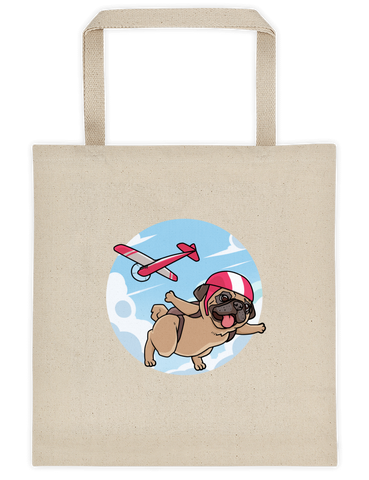 Pug Tote | Funny Skydiving Dog Bag | The Jazzy Panda