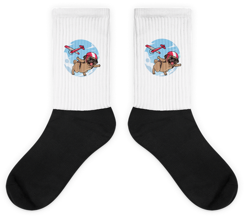 Pug Socks For Men | Funny Skydiving Dog Sock | The Jazzy Panda
