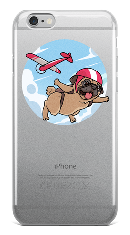 Pug iPhone 6 6s Plus Case | Funny Skydiving Dog Cover | The Jazzy Panda