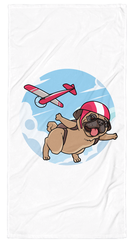 Pug Towel | Funny Skydiving Dog Blanket | The Jazzy Panda