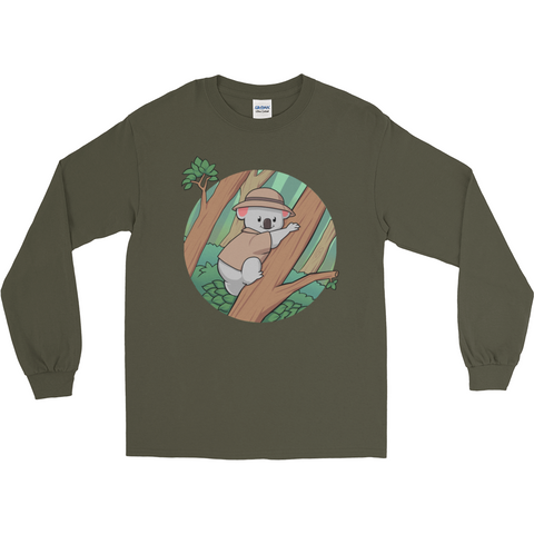 Koala Bear Long Sleeve T Shirt For Men | Funny Animal Tee | The Jazzy Panda