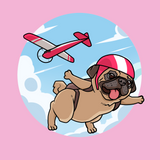 Pug Baby Girl Onesie | Funny Skydiving Dog Romper | The Jazzy Panda