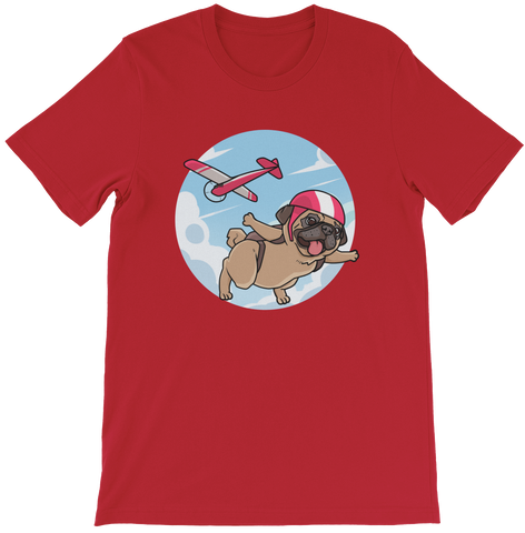 Pug T Shirt For Men | Funny Skydiving Dog Tee | The Jazzy Panda