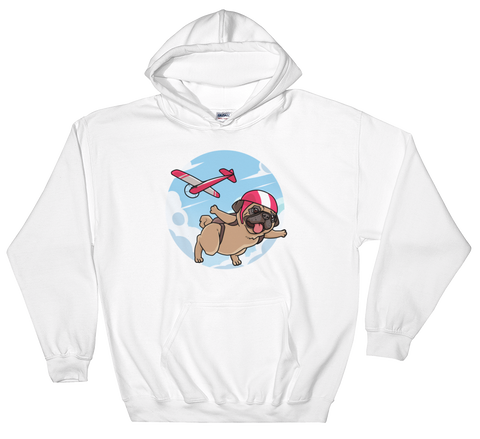 Pug Hoodie For Men | Funny Skydiving Dog Sweatshirt | The Jazzy Panda