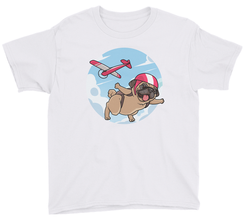 Pug T Shirt For Boys | Funny Skydiving Dog Tee | The Jazzy Panda