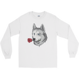 Husky Long Sleeve T Shirt For Men | Funny Siberian Dog Tee | The Jazzy Panda