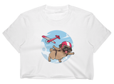 Pug Crop Top For Women | Funny Skydiving Dog Tee | The Jazzy Panda