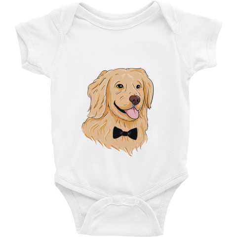 Golden Retriever Baby Boy Onesie | Funny Dog Romper | The Jazzy Panda