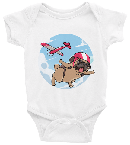 Pug Baby Boy Onesie | Funny Skydiving Dog Romper | The Jazzy Panda