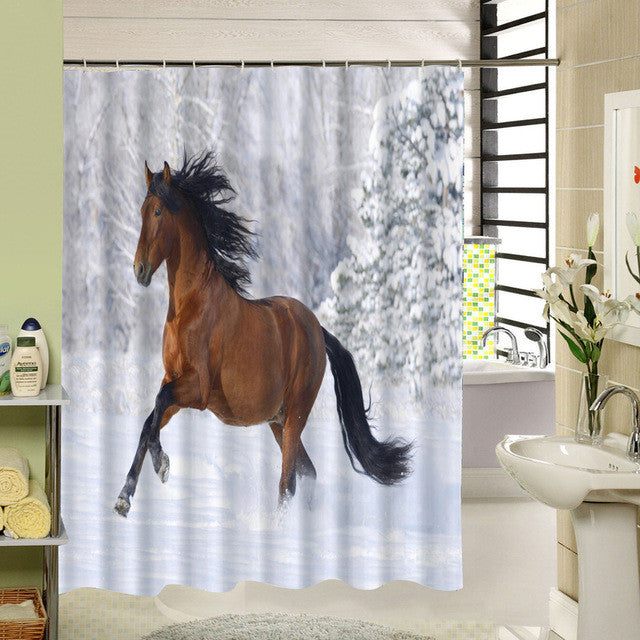 Waterproof Horse Shower Curtain With Rings