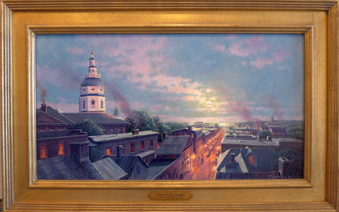 Moonrise Over Annapolis Framed Original Painting by John M Barber