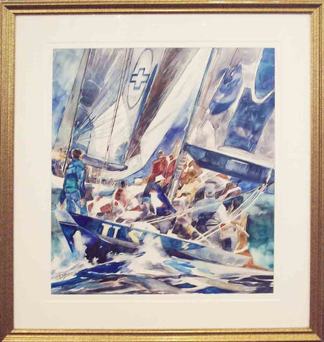 Boys and Girls Club Original Watercolor Painting by Willard Bond