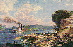 CHATANOOGA: UNLOADING FLATBOATS ON THE BANKS OF THE TENNESSEE RIVER IN 1848
