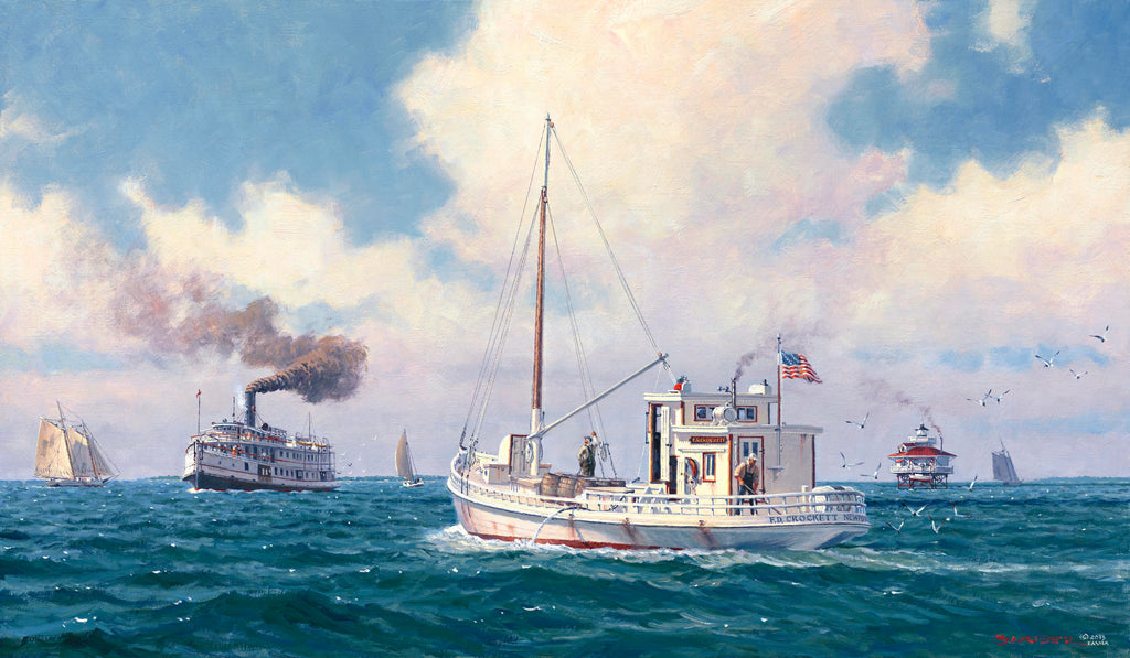 F.D. CROCKETT AND STEAMER PIANKATANK OFF STINGRAY POINT