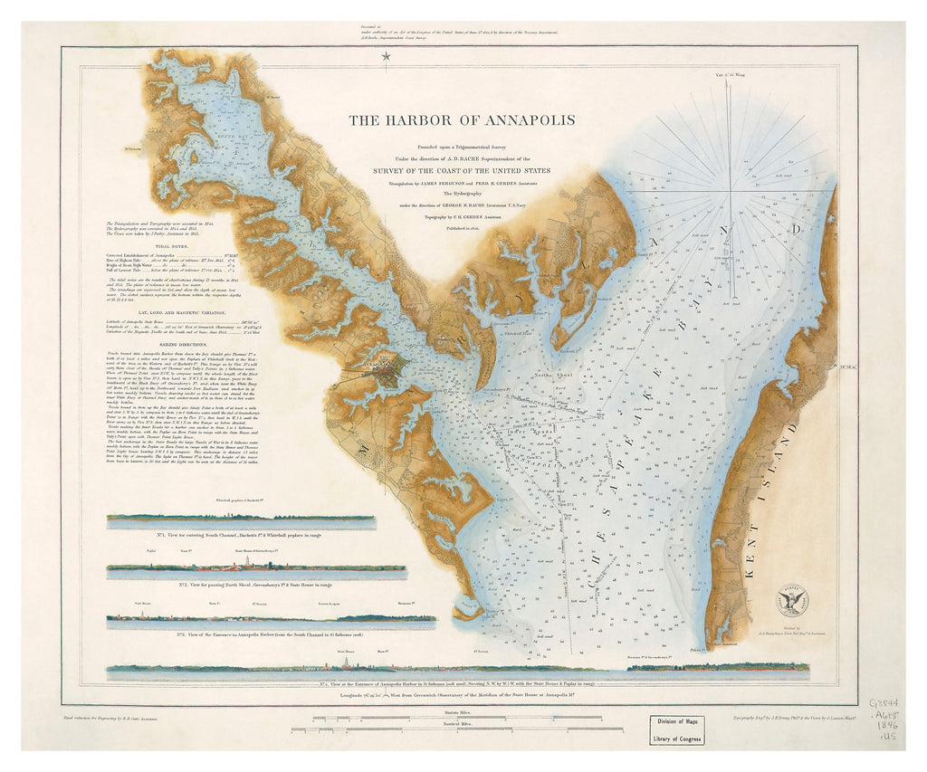 1846 HARBOR OF ANNAPOLIS CHART - Hand Colored
