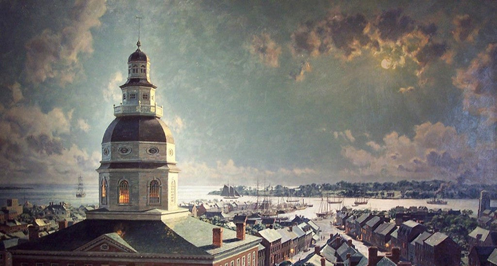 Moonlight Over the Maryland State House, Looking South, in 1860 by John Stobart