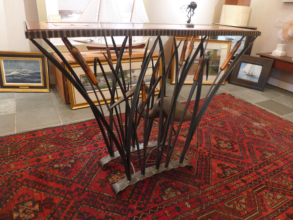 STANDING HERON CONSOLE TABLE