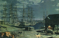 NEW YORK: THE BLACKBALL PACKETS SEEN BEYOND THE FULTON FISH MARKET IN 1865