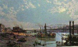 PITTSBURGH: MOONLIGHT OVER THE MONONGAHELA IN 1885 (RARE)
