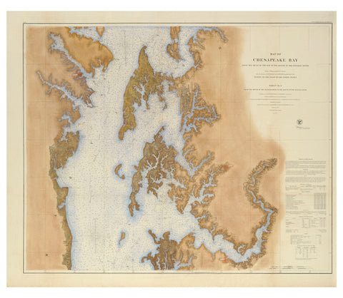 1857 UPPER CHESAPEAKE CHART - Hand Colored