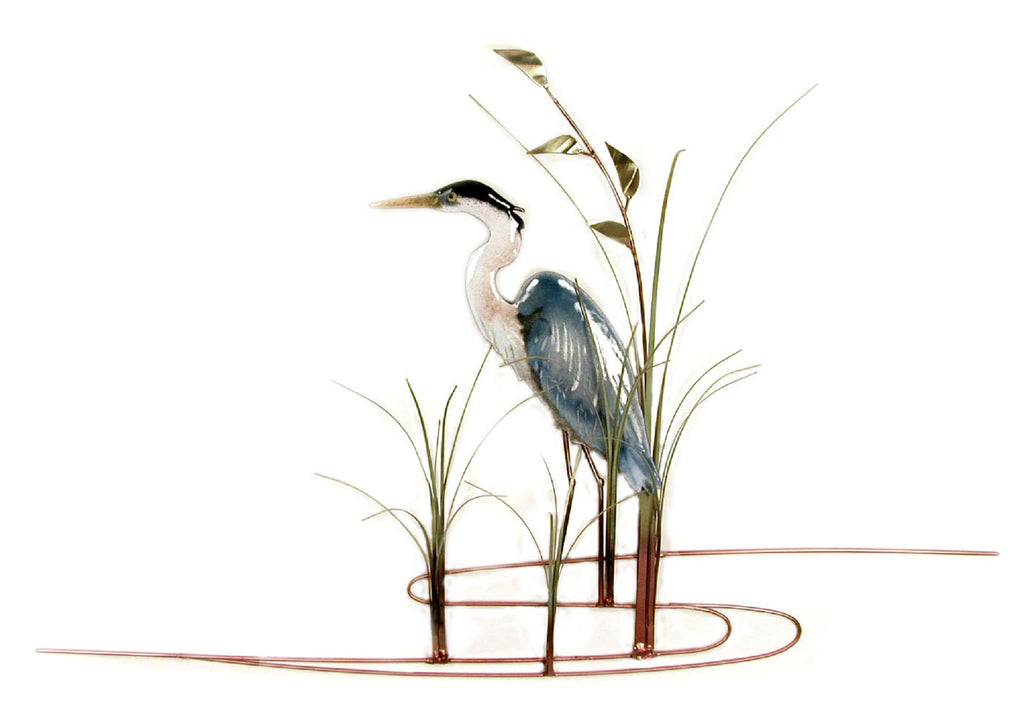 HERON WITH SEA OATS FACING LEFT