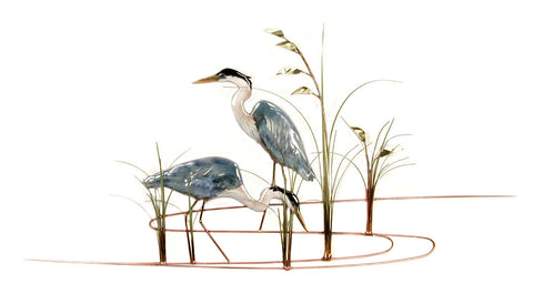 TWO HERONS WITH SEA OATS
