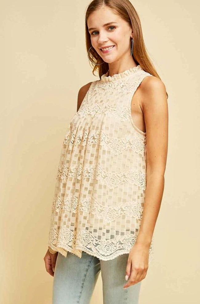 NATURAL Lace Sleeveless Top NEW (S,M,L) NEW ENTRO - The Paper Chandelier