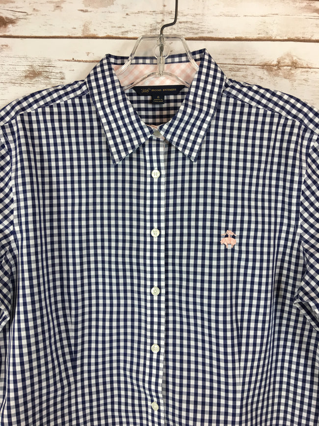 BROOKS BROTHERS Navy Check Button-Up Shirt (8) - The Paper Chandelier