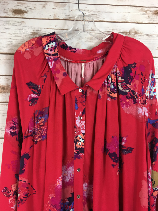 FREE PEOPLE Long Sleeve Red Floral Tunic/Dress NWT (M) - The Paper Chandelier