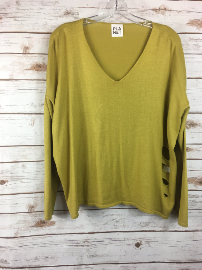 PLANET Mustard Distressed Sweater (O/S)