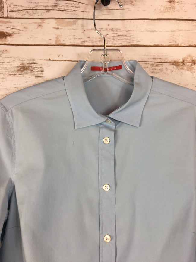 PRADA Soft Tiffany Blue Button-Up Shirt (8) - The Paper Chandelier