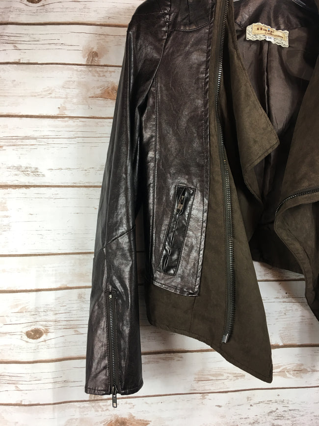 FLAIR Brown Vegan Leather Moto Jacket (M) - The Paper Chandelier