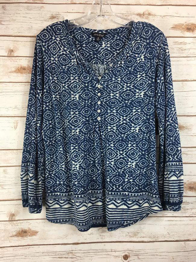 LUCKY Navy Print Button Front Babydoll Blouse (M) - The Paper Chandelier