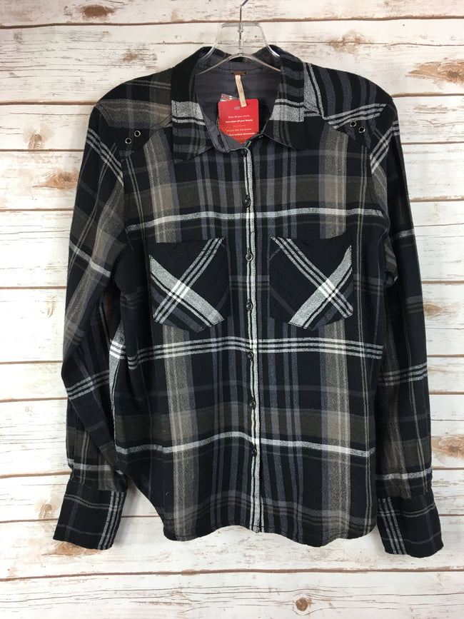 FREE PEOPLE Black & Tan Plaid Blouse NWT (XS) - The Paper Chandelier