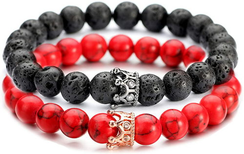 Black Lava Stone & Red Howlite Couple Bracelets