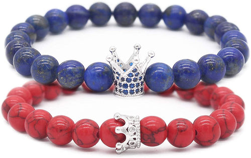 Blue Lapis & Red Howlite Couple Bracelets