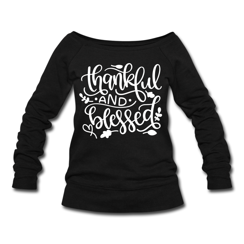 Thankful & Blessed Women's Off the Shoulder Sweatshirt - black