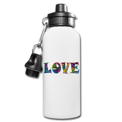 Marusha Love Water Bottle - Horizontal - white