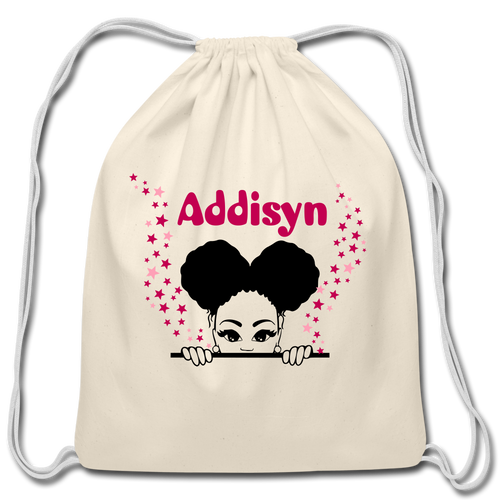 Addisyn Afro Puff Cotton Drawstring Bag - natural